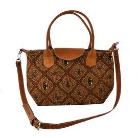 100% Genuine Leather Hand Crafted Batik Handbag with Detachable Shoulder Strap (Size Top 40, Bottom