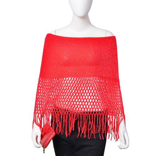 Red Colour Scarf (Size 170x20 Cm) and Ladies Wallet