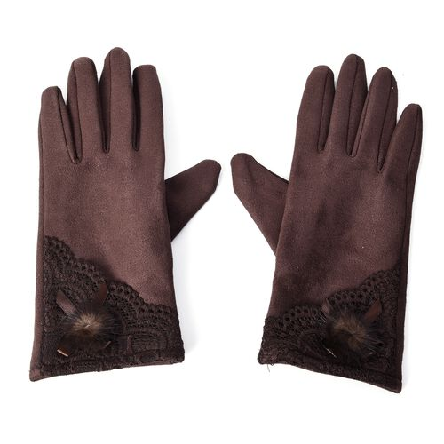 Solid Colour Women Winter Gloves with Lace and Faux Fur Ball on the Wrist (Size 8.9x22.9 Cm) - Choco