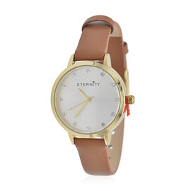 ETERNITY Swarovski Studded Sunray Dial Ladies Watch in Gold Tone with Genuine Leather Tan Strap
