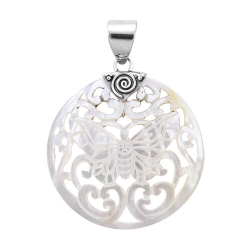 Royal Bali White Shell Butterfly Pendant in Sterling Silver