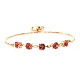 J Francis - Crystal From Swarovski Padparasha Crystal (Rnd) Bolo Bracelet (Size 6.5- 9.5 Adjustable) in Gold Plated