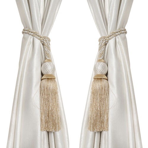 Pair of Beige and Silver Colour Tassel Curtain Tiebacks (Size 66 to 68.5 Cm)