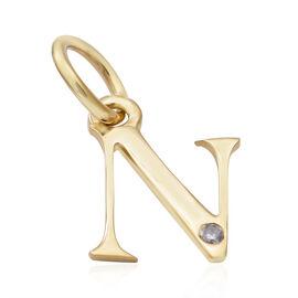 9K Yellow Gold Diamond Initial N Pendant
