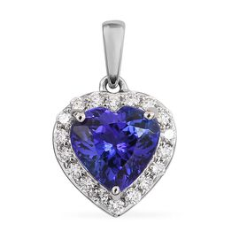 RHAPSODY 950 Platinum AAAA Tanzanite (Hrt) and Diamond Pendant  1.90 Ct.
