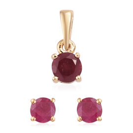1.25 Ct African Ruby Set of 2 Solitaire Stud Earrings (with Push Back) and Pendant in Gold Plated St