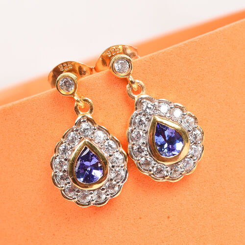 AAA Tanzanite and Natural Cambodian Zircon Dangle Earrings (with Push Back) in 14K Gold Overlay Sterling Silver 1.42 Ct.