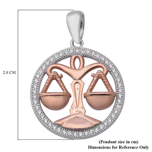 ELANZA Simulated Diamond Zodiac-Libra Pendant in Plain and Rose Gold Overlay Sterling Silver