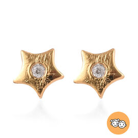 Natural Cambodian Zircon Kids Star Stud Earrings (with Push Back) in 14K Gold Overlay Sterling Silve