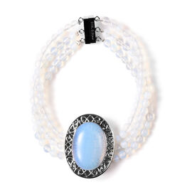 70 Carat Opalite Beaded Bracelet with Magnetic Clip in Stainless Steel 7.5 Inch