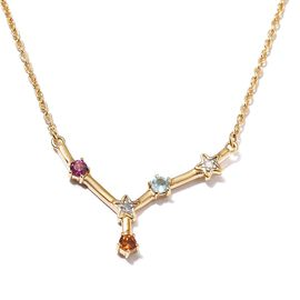 Diamond and Multi Gemstones Necklace (Size - 20 with 2 inch Extender ) in 14K Gold Overlay Sterling