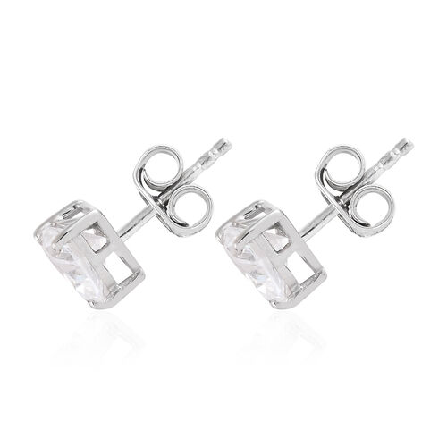 J Francis - Platinum Overlay Sterling Silver (Hrt 6mm ) Stud Earrings (with Push Back) Made with SWAROVSKI ZIRCONIA