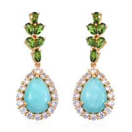 16.5 Ct Peruvian Amazonite Drop Earrings in Gold Plated Sterling Silver 6.91 Grams
