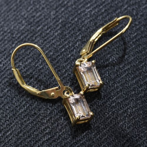 Marropino Morganite (Oct) Lever Back Earrings in 14K Gold Overlay Sterling Silver 1.000 Ct.