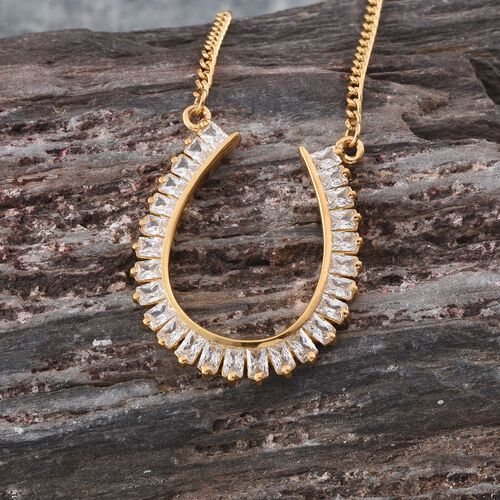 J Francis - 14K Gold Overlay Sterling Silver (Bgt) Horseshoe Pendant With Chain Made with SWAROVSKI ZIRCONIA