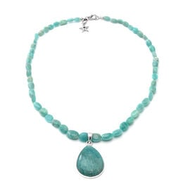 GP 150.03 RuCt ssian Amazonite Teardrop Beaded Necklace with Star Charm in Platinum Plated Silver