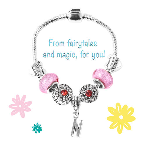 N Initial Charm Bracelet for Children in Simulated Pink Colour Bead, Red and White Austrian Crystal Size 6.5 Inch in Silver Tone