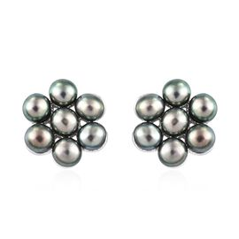 Designer Inspired-Freshwater Peacock Pearl (Rnd) Floral Earrings (with Push Back) in Sterling Silver