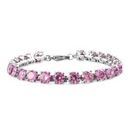 DOD - Simulated Pink Diamond (Rnd) Tennis Bracelet (Size 7.5) in Stainless Steel