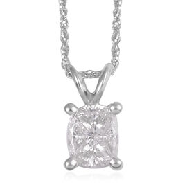 14K White Gold Diamond (SI1/G-H) Pendant with Chain (Size 16) 0.500 Ct.