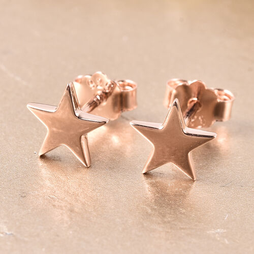 RACHEL GALLEY Rose Gold Overlay Sterling Silver Star Stud Earrings (with Push Back)
