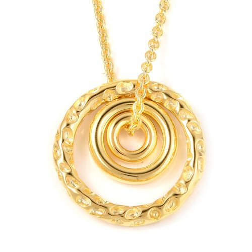RACHEL GALLEY Yellow Gold Overlay Sterling Silver 2 Pcs Necklace (Size 20) and Pendant, Silver wt 10.73 Gms.
