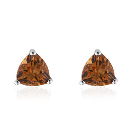 Serra Gaucha Citrine (Trl) Stud Earrings (with Push Back) in Platinum Overlay Sterling Silver 1.250