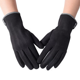 Soft Classic Black Winter Gloves (Size 9x23cm)