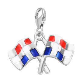 Charms De Memoire - Platinum Overlay Sterling Silver Enamelled Checkered Flag Charm