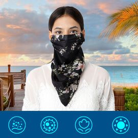 New Arrival- 2 in 1 Flower Pattern 100% Mulberry Silk Scarf and Protective Face Covering in Black Co