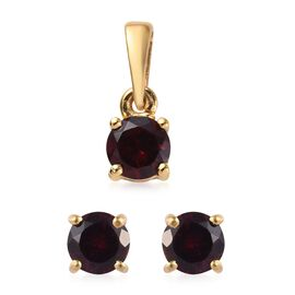 2 Piece Set - Rhodolite Garnet (Rnd) Pendant and Stud Earrings (with Push Back) in 14K Gold Overlay