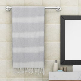 100% Cotton Striped Towel With Fringes (Size 170x90cm) - Light Grey and White