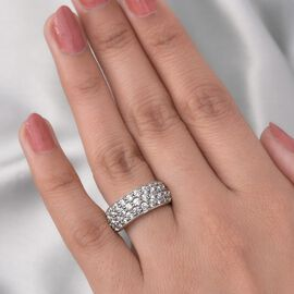 J Francis Platinum Overlay Sterling Silver Cluster Band Ring Made with SWAROVSKI ZIRCONIA 3.67 Ct.
