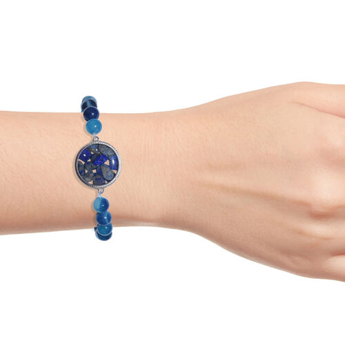 One Time Deal- Blue Onyx and Sodalite Streachable Bracelet (Size 7.5) in Platinum Plated
