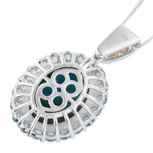 Natural Rare Opalina (Ovl 7.00 Ct),Signity Paraiba Topaz Pendant With Chain in Platinum and Yellow Gold Overlay Silver 8.500 Ct.