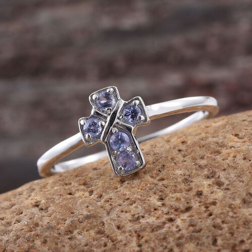Tanzanite Cross Ring in Platinum Overlay Sterling Silver 0.25 Ct.