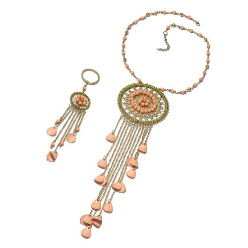 Green and Multi Colour Dream Catcher Necklace (Size 22 with 2 inch Extender) with Simulated Peach Moonstone Beads and Matching Key Chain in Gold Tone