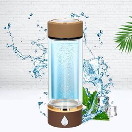 380ml Portable Hydrogen Water Generator Bottle with SPE and PEM Technology (Size 7x21 Cm) - Camel