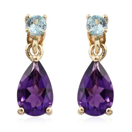 9K Yellow Gold AA Amethyst (Pear), Blue Zircon Earrings (with Push Back) 1.750 Ct.