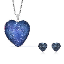 2 Piece Set -  Blue Druzy Quartz Heart Stud Earrings (with Push Back) and Heart Pendant with Chain (