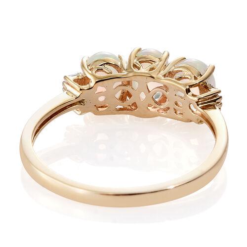 9K Yellow Gold AAA Ethiopian Welo Opal (Ovl), Diamond Ring 1.750 Ct.