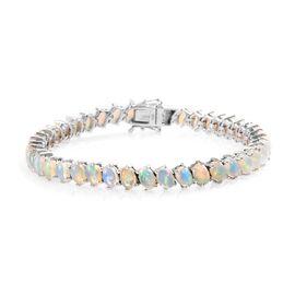 Ethiopian Welo Opal (Ovl) Bracelet (Size 7.5) in Platinum Overlay Sterling Silver 11.50 Ct. Silver W