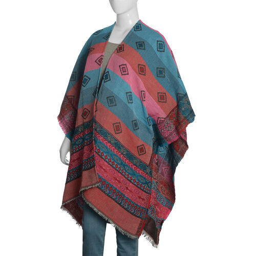 Limited Available - Italian Designer Inspired Red, Pink and Multi Colour Woven Poncho (Free Size)