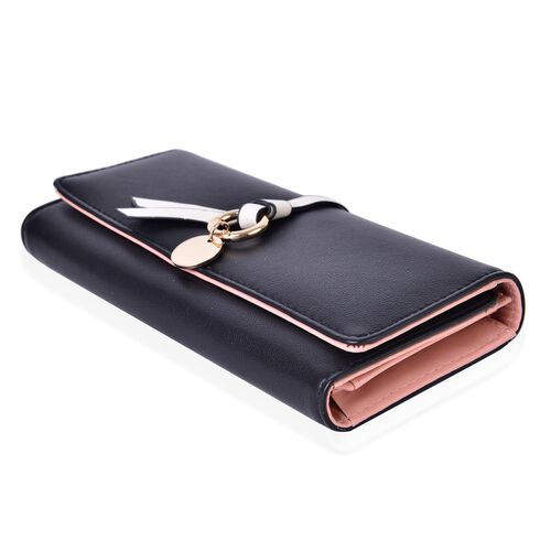 Black Colour Ladies Wallet with Multiple Card Slots and Knot Charm (Size 19X9X3 Cm)