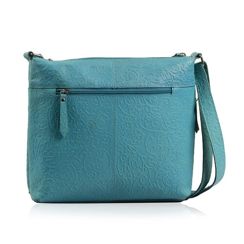 100% Genuine Leather Teal Colour RFID Blocker Bag (Size 30x28 Cm)