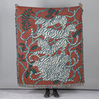 100% Cotton JACQUARD WOVEN Animals Print Throw with Fringes (Size - 150X125 Cm) - Red & Blue