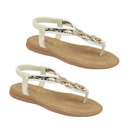 Dunlop Nikita Embellished Toe Post Flat Sandals in White Colour