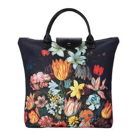 Signare Tapestry Bosschaert Art A Still Life of Flowers In A Van-Li Vase Foldaway Gusset Bag in Blac