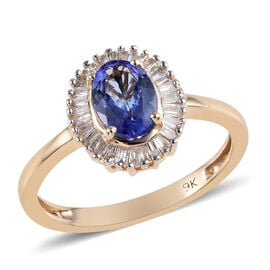 9K Yellow Gold AA Tanzanite (Ovl 7x5 mm), Diamond Ballerina Ring 1.00 Ct.