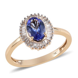 1 Carat AA Tanzanite and Diamond Halo Ring in 9K Yellow Gold 1.87 Grams